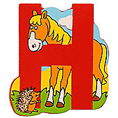 Bigjigs Toys BJL208 Wooden Magnetic Animal Letter Uppercase H (Designs Vary)