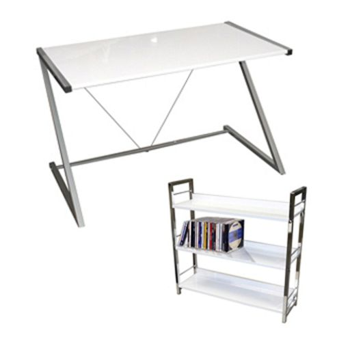 Buy gloss office desk workstation free shelves white from our office desks tables range - Tesco office desk ...