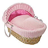 Clair de Lune Natural Wicker Moses Basket (Marshmallow Pink)