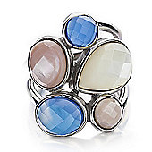Shimla Ladies Blue Agate & Pink/White Shell Ring - SH-210SM