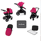 Ickle Bubba Stomp v3 AIO Travel System + Mosquito Net - Pink (Black Chassis)