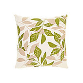 Linea Leaf Design Cotton Cushion, Green