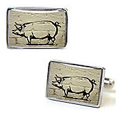 White Brick Piggy Graffiti Cufflinks