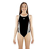 Speedo Monogram Muscleback Girls Suit - Black & White
