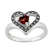 Gemondo Sterling Silver 0.49ct Garnet & Marcasite Heart Ring
