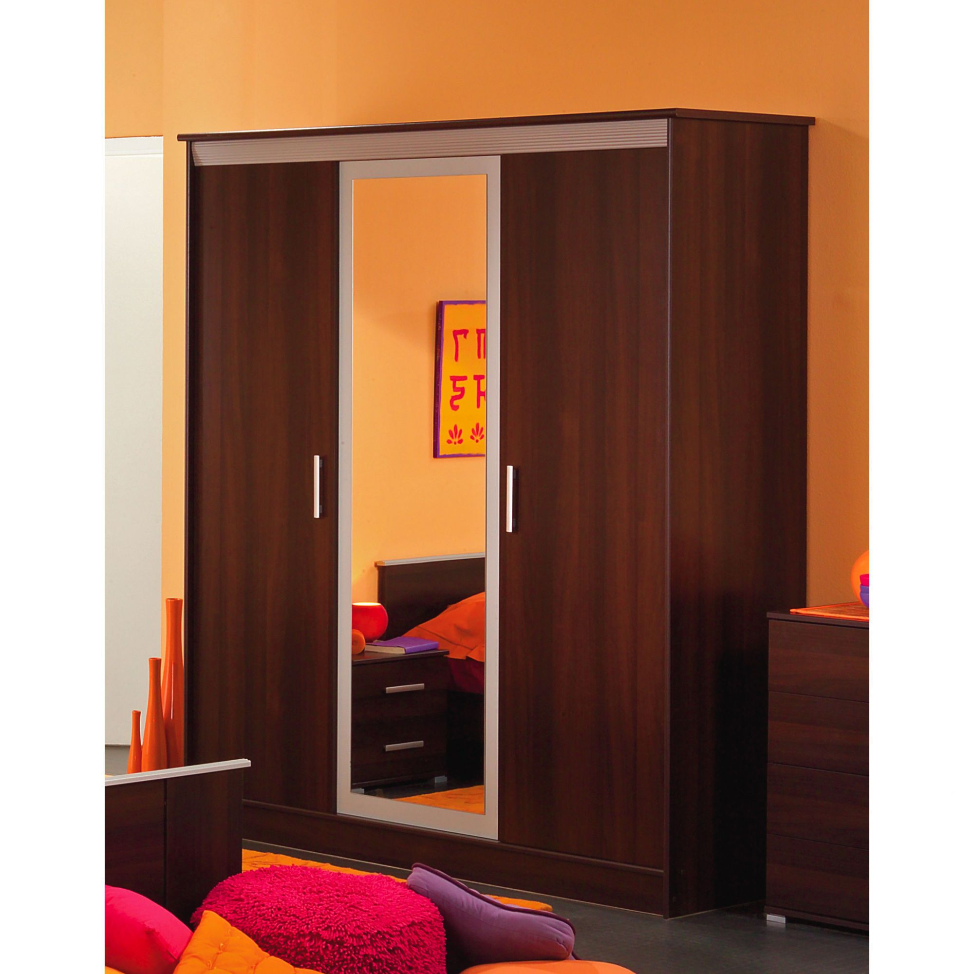 Parisot Samba Three Door Wardrobe in Dark Walnut / Metal Grey at Tescos Direct