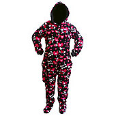 Skulls and Hearts Hooded Adult Onesie - Small to Medium