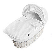 Isabella Alicia White Wicker Moses Basket (Dimple White)