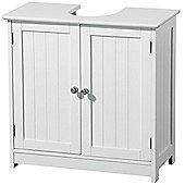 Shaker - Wooden Tongue + Groove Double Door Under Sink Cupboard - White