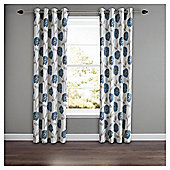 Poppy Floral Lined Eyelet Curtains - Teal