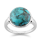 Gemondo 925 Sterling Silver 6.00ct Turquoise Cabochon Round Bezel Set Cocktail Ring