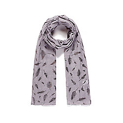 Grey Feather Foil Print Long Scarf