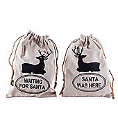 Set of Two Natural Linen Christmas Sack Gift Bags with Stag Designs