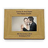 Personalised Oak Finish Long Message Landscape Frame 6 x 4