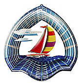 Iron Stop Designer Sail Boat Wind Spinner 10in Garden Feature