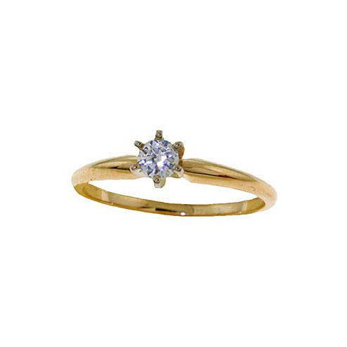 QP Jewellers 0.15ct SI-2 Diamond Crown Solitaire Ring in 14K Gold - Size A