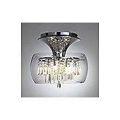 Semi Flush Ceiling Light with Glass Surround and Clear Droplets