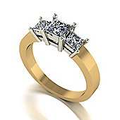 Charles and Colvard 9 ct Gold 3-stone Square Brilliant Moissanite Ring
