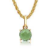 Gemondo Amour Damier 9ct Yellow Gold 0.97ct Claw Set Peridot Pendant on 45cm Chain