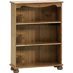 Strand - Solid Wood 3 Shelf Storage Bookcase - Antique Pine