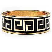 Gold Plated Black Enamel Maze Pattern Hinged Bangle