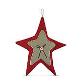 Large Handmade Festive Star Shaped Fabric Decoration