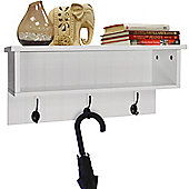 Wall Mounted Hall Rack With Storage And 3 Coat Hooks - White