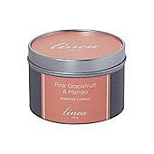 Linea Pink Grapefruit & Mango Tin Candle In Orange