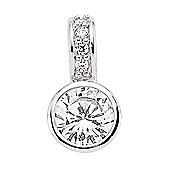 Jewelco London Rhodium-Coated Sterling Silver Solitaire Pendant
