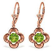 QP Jewellers 1.10ct Peridot Corona Earrings in 14K Rose Gold