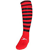 Precision Training Hooped Pro Football Socks - Black & Red