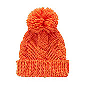 B Boy's Orange Cable Knit Beanie Hat Size 1-3 years