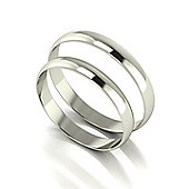 9ct White Gold 3mm Flat Wedding Band