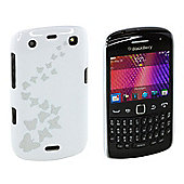 Trendz Hard Clip-On Case for BlackBerry Curve 9360 - White with Butterflies