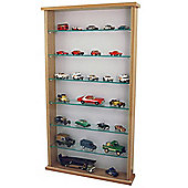 Wall Display Cabinet With Six Glass Shelves - Oak