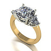 18ct Gold 8.5mm Cushion Moissanite and two 6.5mm Trillions 3 Stone Ring