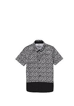 F&F Abstract Print Long Line Short Sleeve Shirt - Black