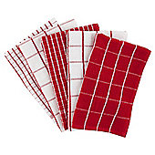 Tesco Basics Check Terry Tea Towels, Red, 5 pack