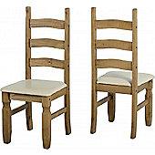 Corona Mexican Dining Chair (PAIR) Distressed Waxed Pine/Cream PU