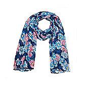 Pink and Blue Chrysanthemum Flower Print Summer Scarf