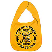 Dirty Fingers Son of a Biker Daddy's Original Born to Ride Bib Yellow