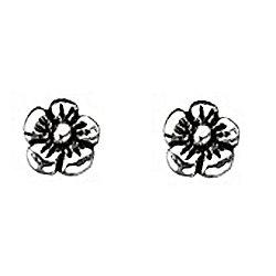 Girl's Oxidised Silver Flower Stud Earrings