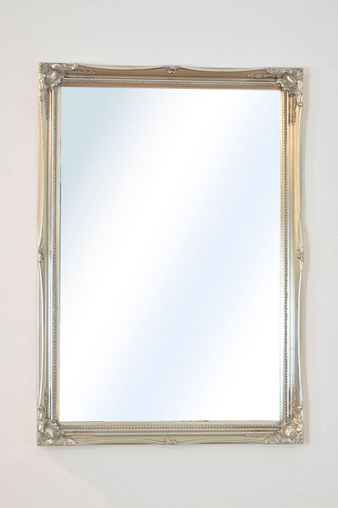 Buy large decorative antique design silver wall mirror for Large silver decorative mirrors