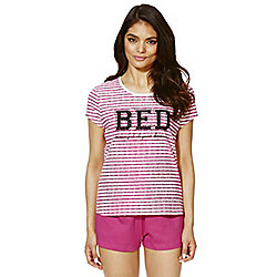 F&F Bed Slogan Shorts Pyjamas 12 - 14 Pink