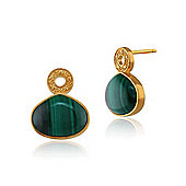 Gemondo Gold Plated Sterling Silver 6.00ct Malachite Cabochon Stud Earrings