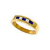 QP Jewellers White Topaz & Sapphire Princess Prestige Ring in 14K Rose Gold