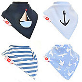 Zippy Nautical Bandana Dribble Bibs, 4 pack, one size