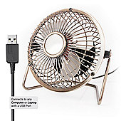 "Twitfish USB Desk Fan 4"" - Brass"