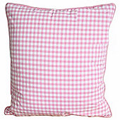 Homescapes Cotton Gingham Check Pink Scatter Cushion, 45 x 45 cm