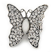 Large Diamante Butterfly Antique Light Grey Silver Stretch Ring